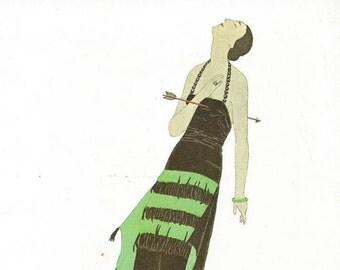 vintage fashion plate. french woman. fashion illustration. art print. wall art. home decor. gazette du bon ton. art deco artwork. picture 43