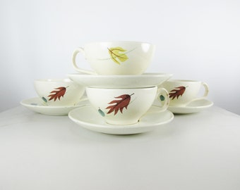 Vintage Franciscan Earthenware Autumn Cups and Saucers, Set of Four