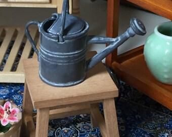 Miniature Watering Can, Aged Patina, Dollhouse Miniature, 1:12 Scale, Fairy Garden, Dollhouse Home & Garden, Mini Decor