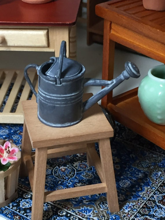 Miniature Watering Can, Aged Patina, Dollhouse Miniature, 1:12 Scale, Fairy Garden, Dollhouse Home & Garden, Mini Decor