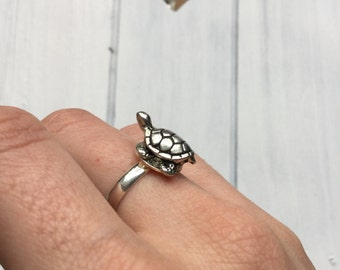 SALE Turtle ring, adjustable silver or gold