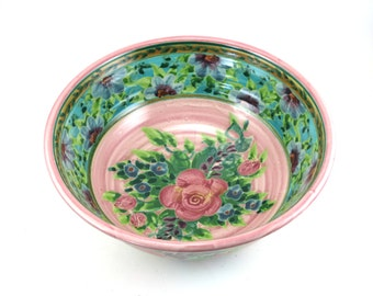 Pink Porcelain Serving Bowl - Large Ceramic Serving Dish with Flower and Pink Rose Design - OOAK