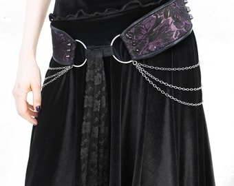 SPIKED PURPLE BROCADE handmade tie front hip belt with draping chains