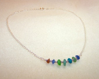 Genuine Sea Glass Necklace 18 Inch Beach Glass Jewelry for Women Silver Chain Colorful Necklace for Her Unique Jewlery Small Gift Ideas