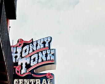 Nashville print, city art, Industrial decor, Honky Tonk Central, Tennessee art, Nashville gifts, urban wall decor, Nashville TN photographs