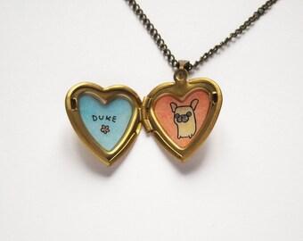 French Bulldog Necklace - Frenchie Jewelry - Custom Name Pet Jewelry - Heart Locket
