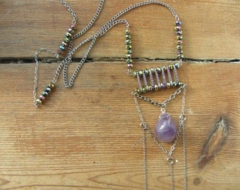 Safety Pin Necklace, Amethyst Stone Pendant, Boho Chic Chain Necklace, February Birthstone Pendant, Safety Pin Jewelry, Upcycled Jewelry