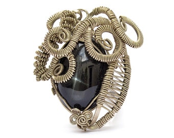 Steampunk Pendant, Black Pendant, Silver Pendant, Wire Wrapped Pendant, Black Star Pendant, Black Stone Pendant, Gemstone Pendant