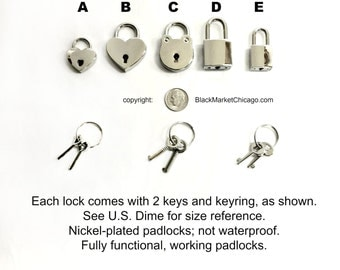 BDSM Padlocks & Keys for Lockable Buckle Collars Large and Small Heart-Shaped, Square, Round Functional Nickel-Plated Silver Chrome Finish