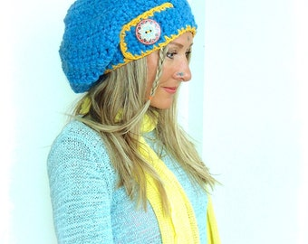 Swedish Girl Jumbo SLOUCHY Beanie hat in Sky BLUE Crochet slouch hat MANDALA button Hat Women slouchy Beanies Blue Beret Baggy Hat GPyoga