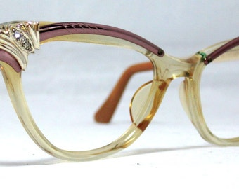 Vintage 60s  Rose Gold and Clear Browline Cat Eye Eyeglasses.