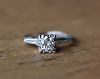 Vintage 14K .80 diamond engagement ring ∙ 1950s diamond engagement ring