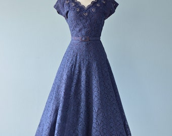 1950s Party Dress...PRIMA New York Navy Blue Lace Tea Length Party Dress