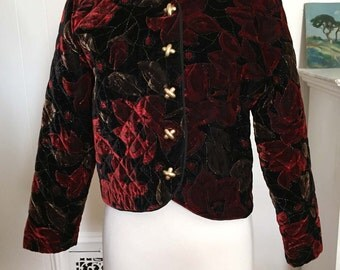 Vintage 1980s Velvet Quilted Short Jacket Burgundy Flowers on Black Floral, Silver Glitter Thread Chunky X-shape Buttons First Option Petite