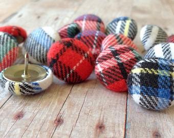 Thumb Tacks,15 Thumbtacks,Pushpins,Push Pins,Home Decor,Office Supplies,Christmas Decor,Christmas,Teacher Gift,Holiday Gift,Plaid Office