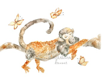 Jungle Nursery Print, Monkey Print, sleeping animal print, gender neutral, Monkey Painting, Safari Nursery Painting, Sleeping Monkey