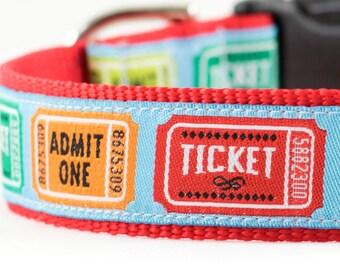 "Ticket Stub Dog Collar - Movie Ticket Stub Collar - Movie Ticket Collar - Buckle Collar - Martingale - 1"" Wide"