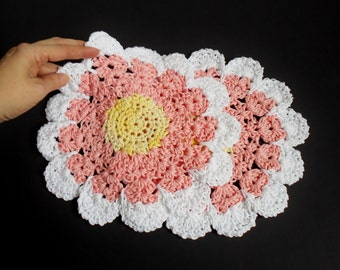 Crochet Dish Cloth Wash Cloth Doily Huge Pink Flower, Knitted Cotton Dish Cloth Set of Two