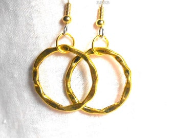 Antiqued Gold Hoop Earrings