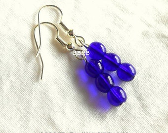 Cobalt Blue Rounded Czech Earrings - Bright Silver Plated Surgical Steel French Hooks USA