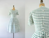 1940s Day Of Wonder antique day dress / 40s striped beauty