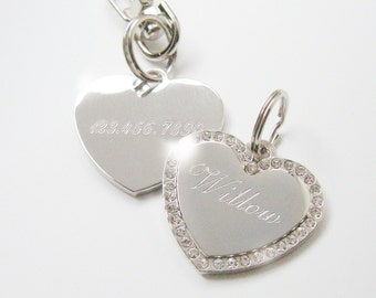 Crystal Heart Pet ID Tag Silver Nickel Chrome or Gold Plated Bling Custom Engraved for Your Pet Dog Personalized Size Med