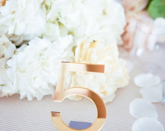 Acrylic Wedding Table Numbers for Events, Freestanding Numbers Acrylic Gold Silver or Clear Wedding Decor Table Centerpiece (Item - ACB100)