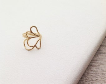 Solid Gold Ring, Gold Flower Ring, 18K Rose Gold Ring, Elegant Gold, White Gold Ring, Gold Petals, 18K Gold Ring, 14K White Gold Ring,