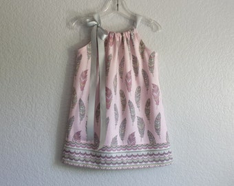 New! Girls Pink and Grey Pillowcase Dress - Colorful Feathers on Pink - Girls Bohemian Sun Dress - Size 12m, 18m, 2T, 3T, 4T, 5, 6, 8, or 10