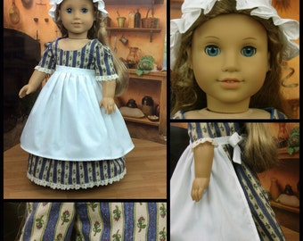 18 inch doll colonial doll dress made to fit american girl size doll with round ear cap and apron. Historical doll clothes.