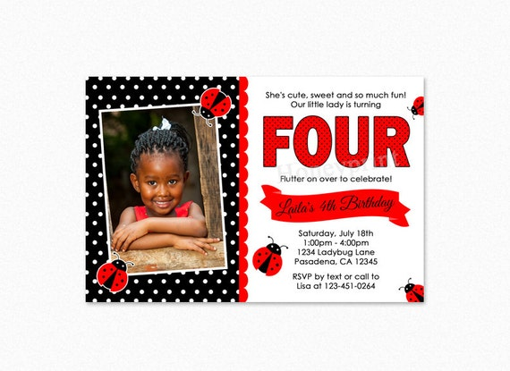 Ladybug Birthday Party Invitation, Ladybug Invitations, Ladybug 1st Birthday Party Invitation, Ladybug Invitation