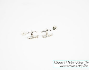 Tiny Channel Inspired Earring, Single or Pair, Silver, Gold, Rose Gold, Titanium or Niobium Stud Earrings