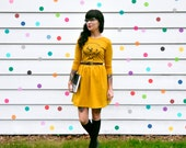don't bother - i'm booked / PRE-ORDER screen printed fit and flare skater dress / mustard yellow book read