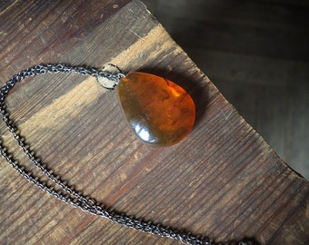 CIJ sale coupon SUPERSALE50 - huge fiery Amber pendant Misty cognac orange amber Drop on gunmetal chain Talisman Necklace