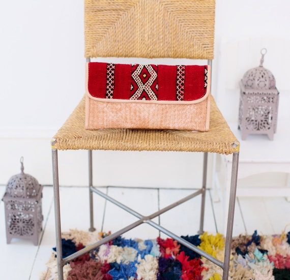 Moroccan Red Kilim Hand Clutch with Shoulder Straps Berber style-bag, tote, handbag, purse, weekender,gifts