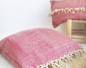 Large Wool Floor Cushion - Fringed