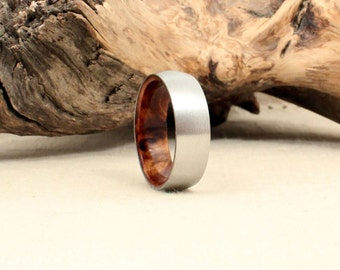 Cobalt Wooden Ring Lined with Japanese Sugi Cedar
