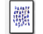 Watercolor blue Fine art giclee print connections watercolor print ultramarine blue sea glass beach finds