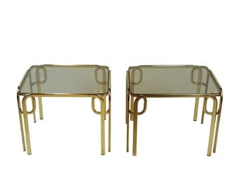 Pair of Regency Brass End Side Tables Baughman DIA Style by Morex Italy