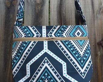 Zipper Pocket Cross Body Bag - Blue and White Ikat Tribal Pattern