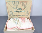 RESERVED for ANNE - Vintage VANTA Bunny Baby Bath Kit - Towel & 2 Bunny Wash Cloths - New Old Stock - Unused