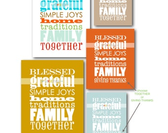 Typographic Art . Grateful Family Subway Art Poster Print Manifesto . 8x10 Graphic Typography . Fall Thanksgiving Christmas Housewarming