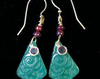 Vintage Green Pressed Glass Beads with Raised Design Dangle Earrings