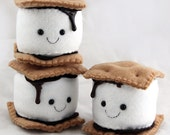 S'more Marshmallow Plushie - Handmade Felt Camping Food