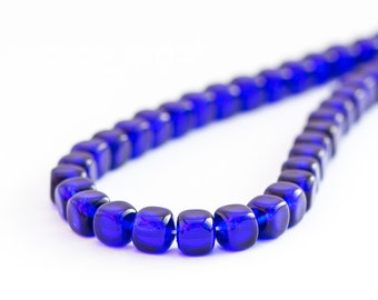 Cobalt Blue Glass Square Beads, Pressed Czech Glass Cube Beads (5/7mm) x 25