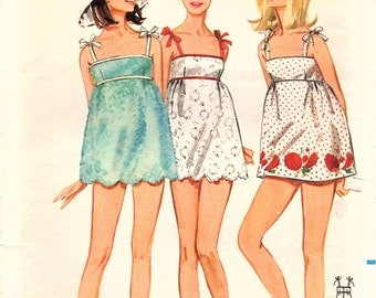 Vintage Original Groovy 1960s Butterick 4449 Beachdress Cover Up Scalloped Hemline Boho Sewing Pattern Bust 34