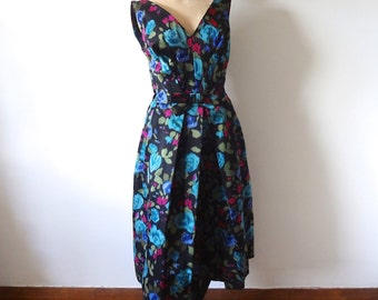 1950s Party Dress - silk cocktail dress - floral print evening gown - M