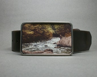 Belt Buckle Fishing in the Rapids Wilderness Unique Gift for Men or Women