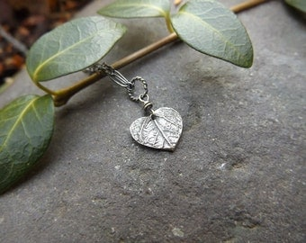 Tiny Heart Leaf - Oxidized Fine Silver Pendant  by Quintessential Arts
