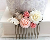 Bridal Hair Comb Romantic Pink and Gold Wedding Hair Accessories Butterfly Floral Collage Comb Country Chic Blush Pink Rose Bridesmaids Gift